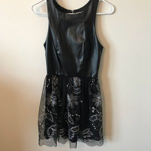 Black Leather and Lace Dress